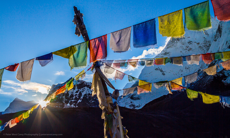 prayer flags Nepal - Waiting to Photograph Sunrise