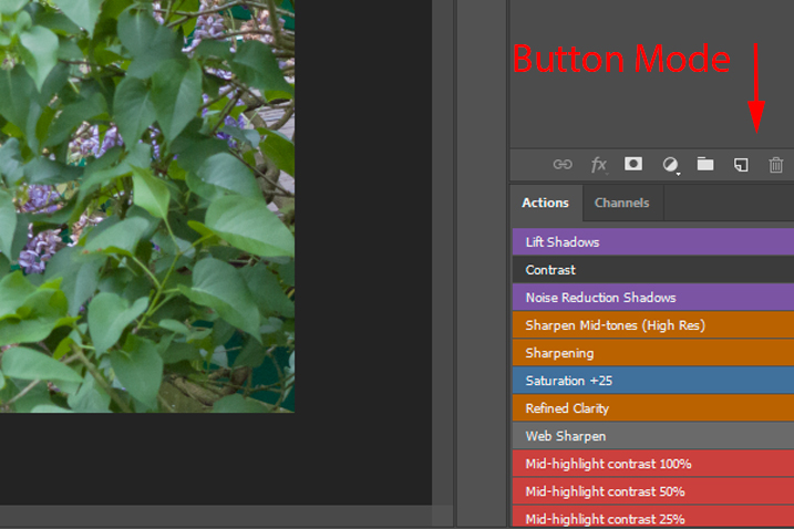 Photoshop actions button mode