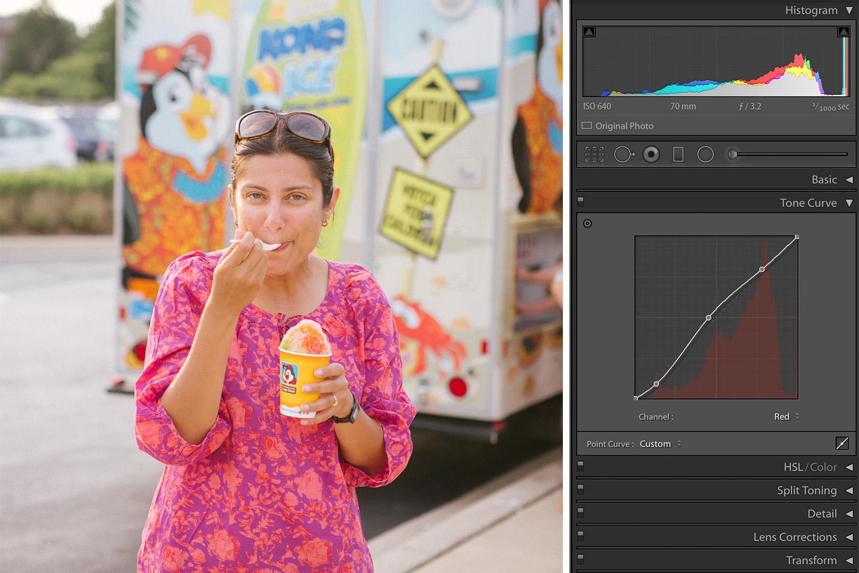 Color Adjustments in Lightroom Girl eating summer ice cream