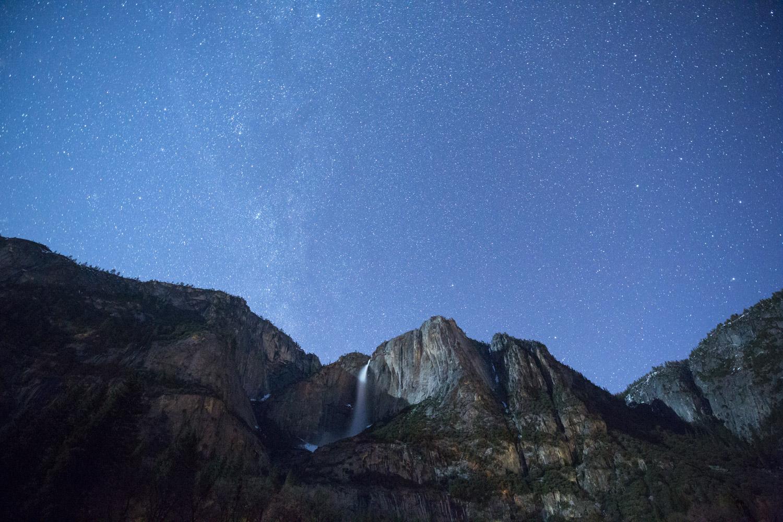 Nighttime photography - stars and waterfall