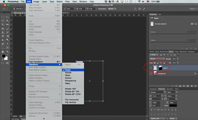 Paste sky Photoshop tutorial transform - Two Ways to Replace the Sky with Photoshop