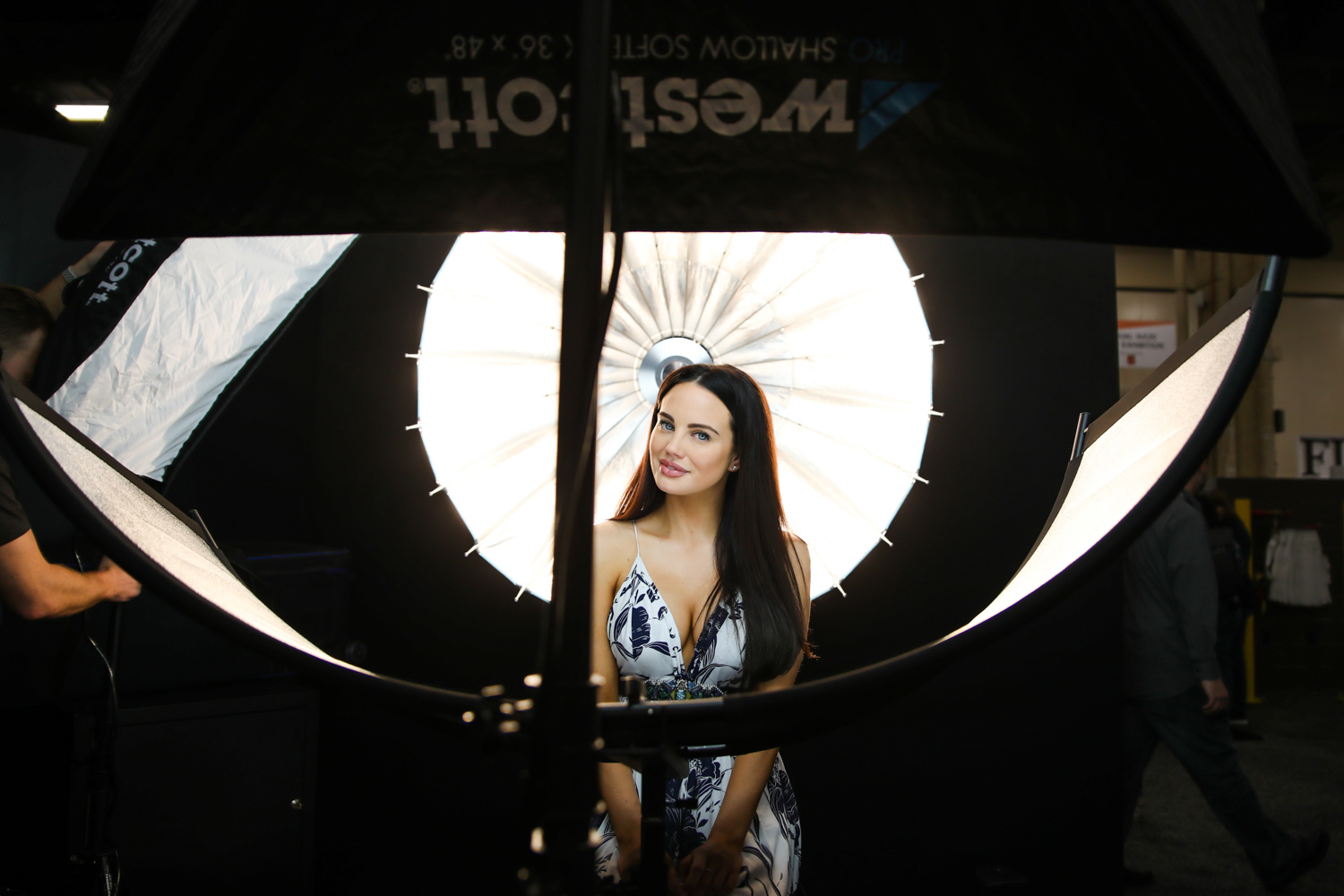 Review of the Westcott Eyelighter for Headshots and Portraits - studio setup showing it in use
