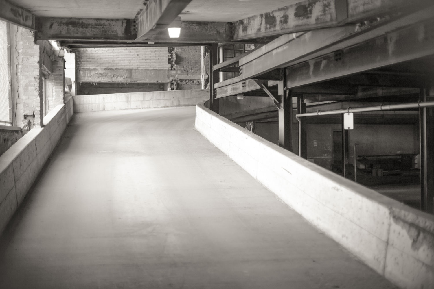 How to Use Low Graphic Style as a Compositional Tool - parking garage in b/w
