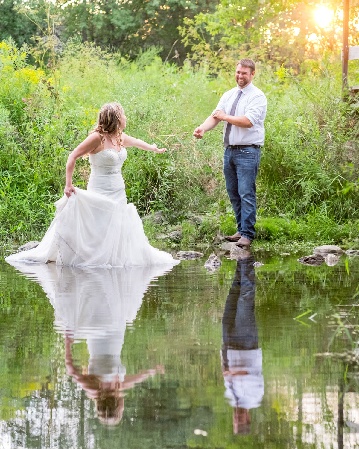 bride in a pond - Wedding Photography Tip - 3 Ways to Tame a Bridezilla
