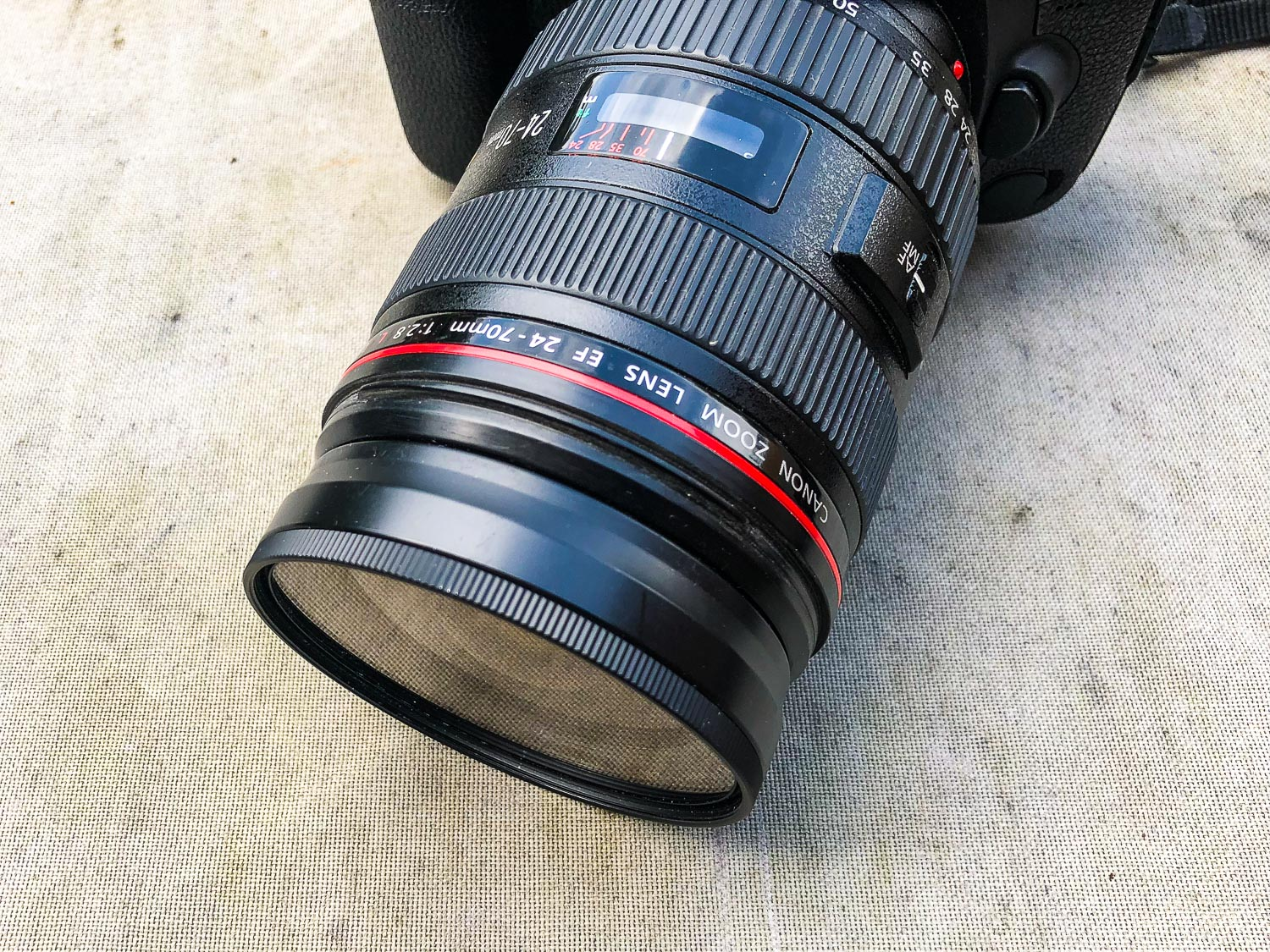 Canon L-series lens with a UV filter fitted on the front. The First 10 Things You Need to Buy After Your Camera for Travel Photography
