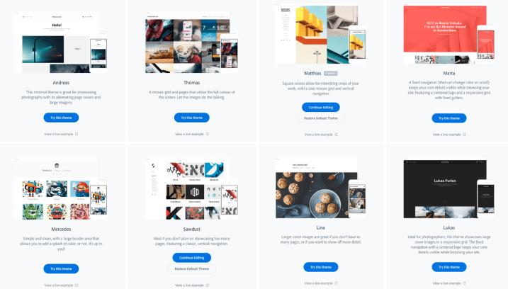 Adobe Portfolio themes