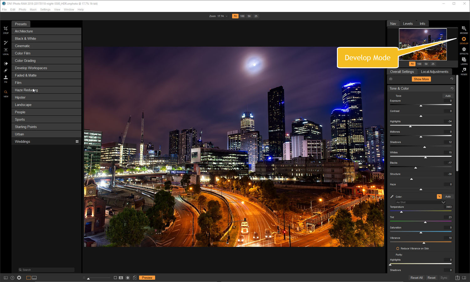 Develop module - Tips for Processing Night Photography with ON1 Photo RAW 2018