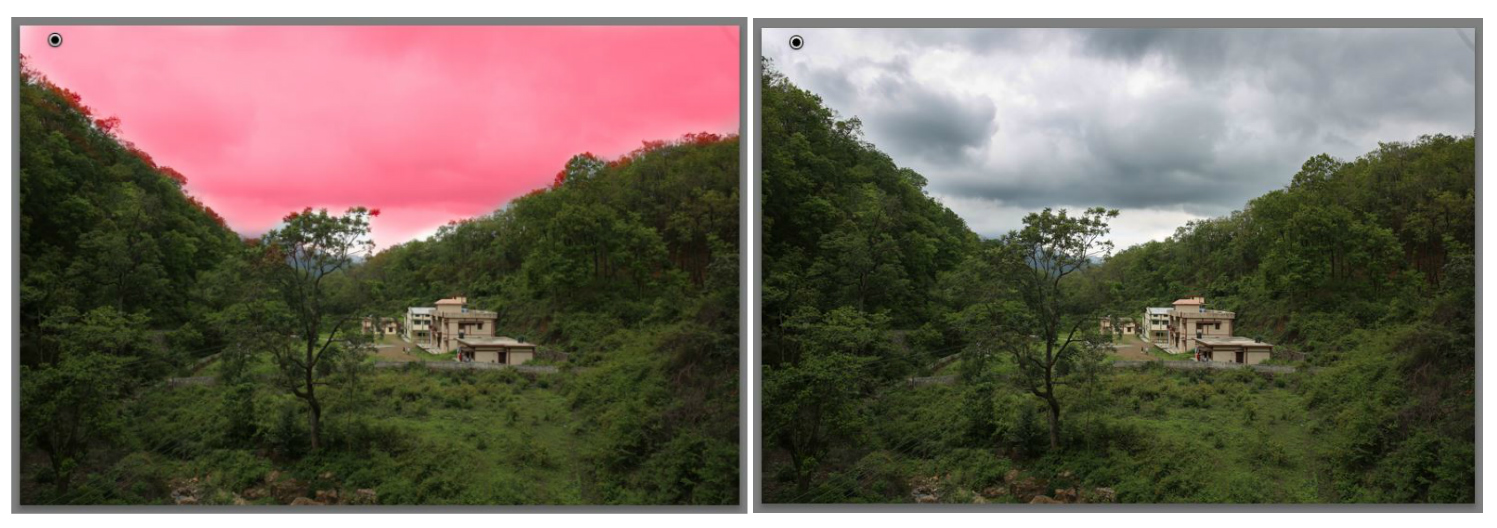 Lightroom local adjustments - landscape scene sky selected