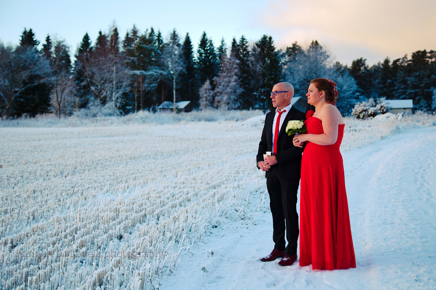 Wedding portrait in winter.