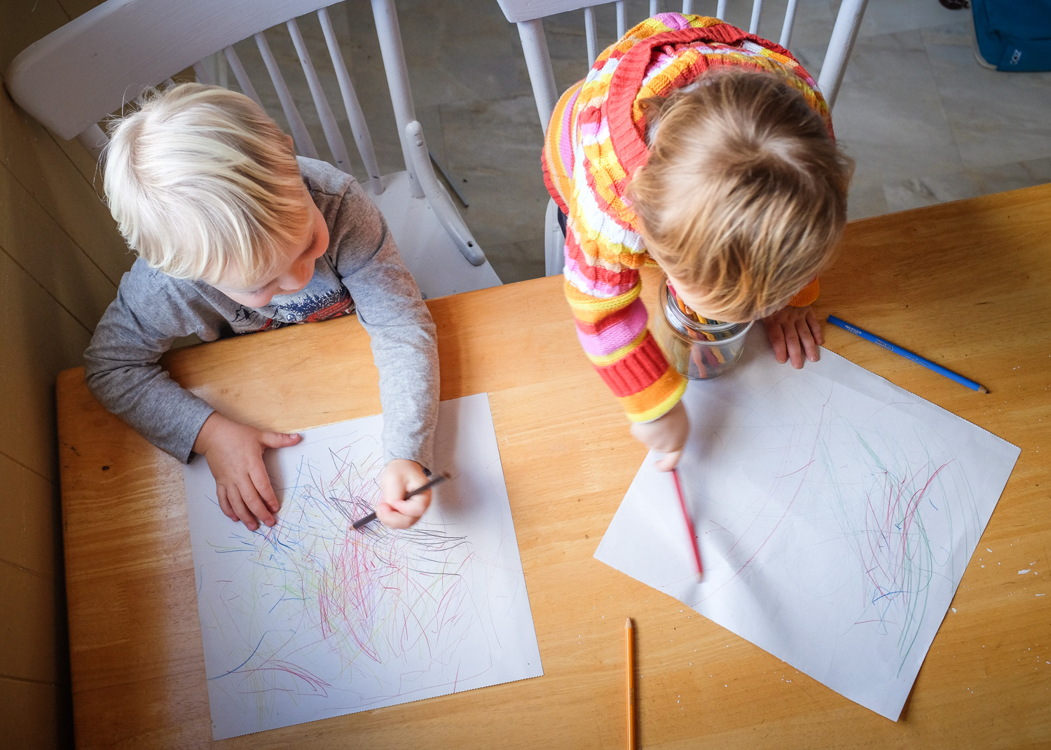 Image: I used a bird's eye view to photograph this scene of my kids drawing.