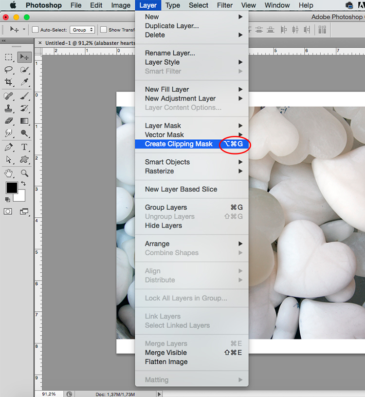 image-filled shapes Photoshop tutorial Clipping Mask