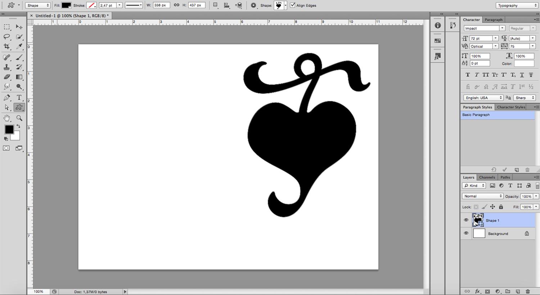 image-filled shapes Photoshop tutorial Draw Shape