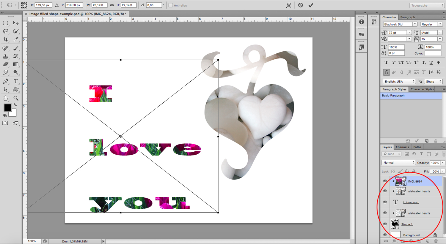 image-filled text Photoshop tutorial