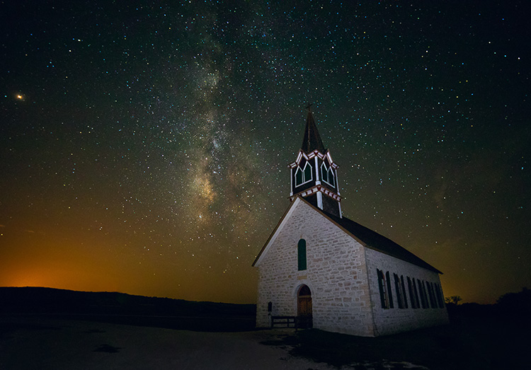 church and Milky Way - night sky photography