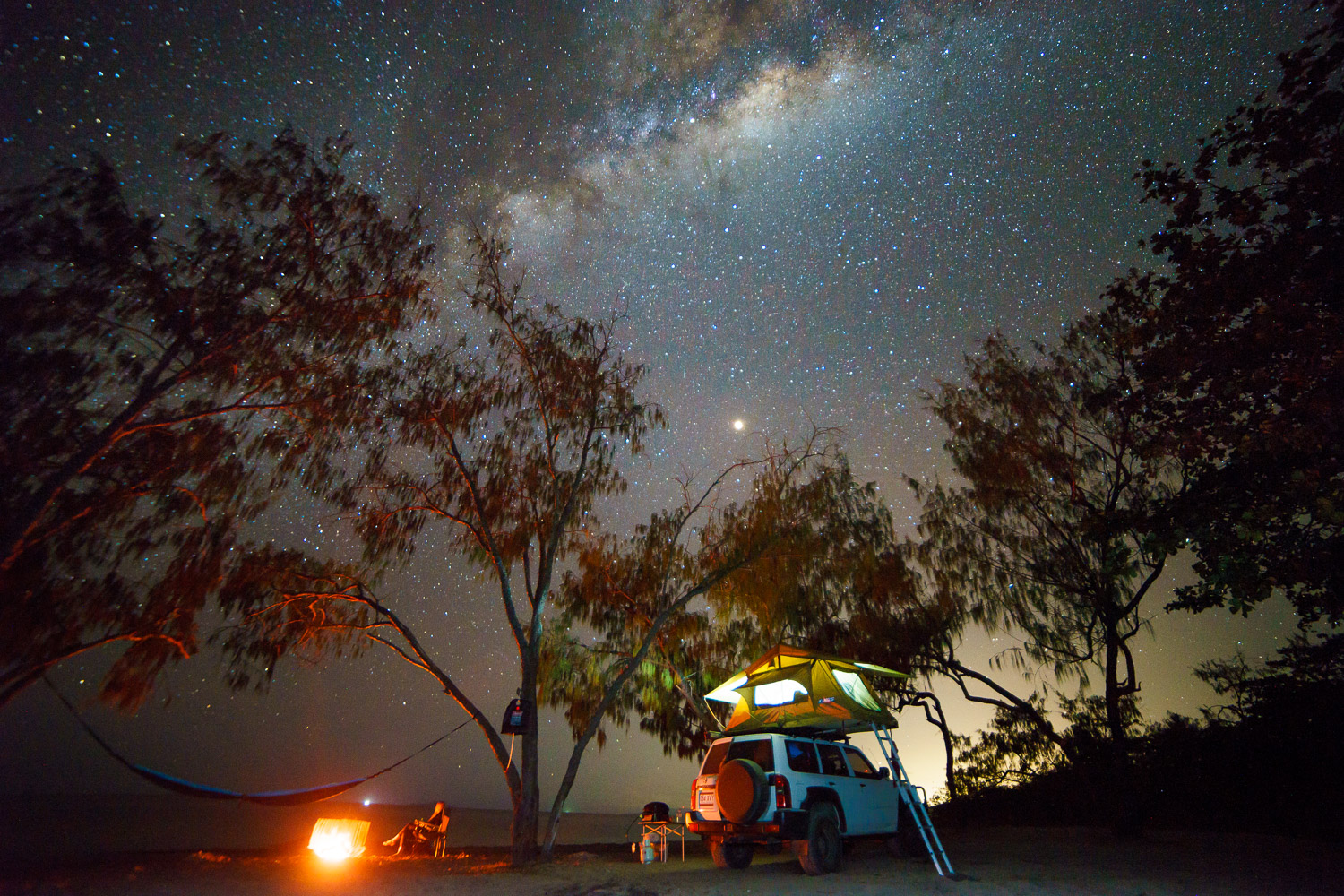 camping astrophotography light painting