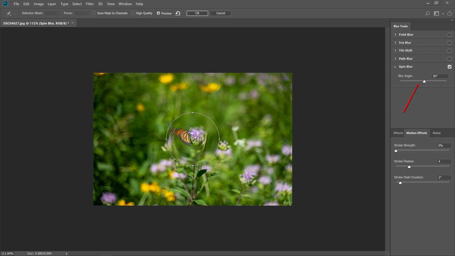 blur angle slider - How to Simulate a Swirly Bokeh in Photoshop