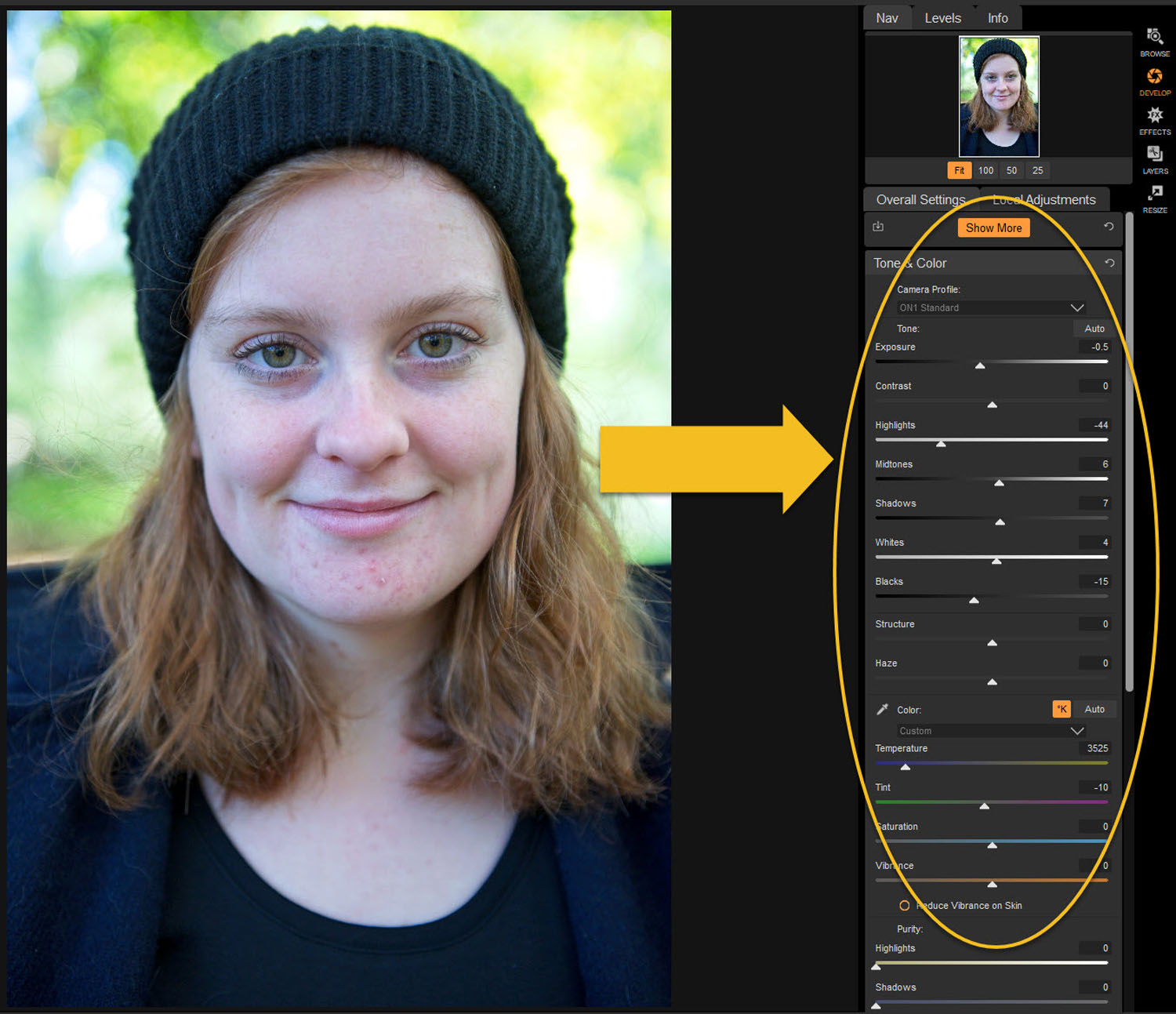 Tips for Portrait Processing with ON1 Photo RAW 2018 - basic adjustments