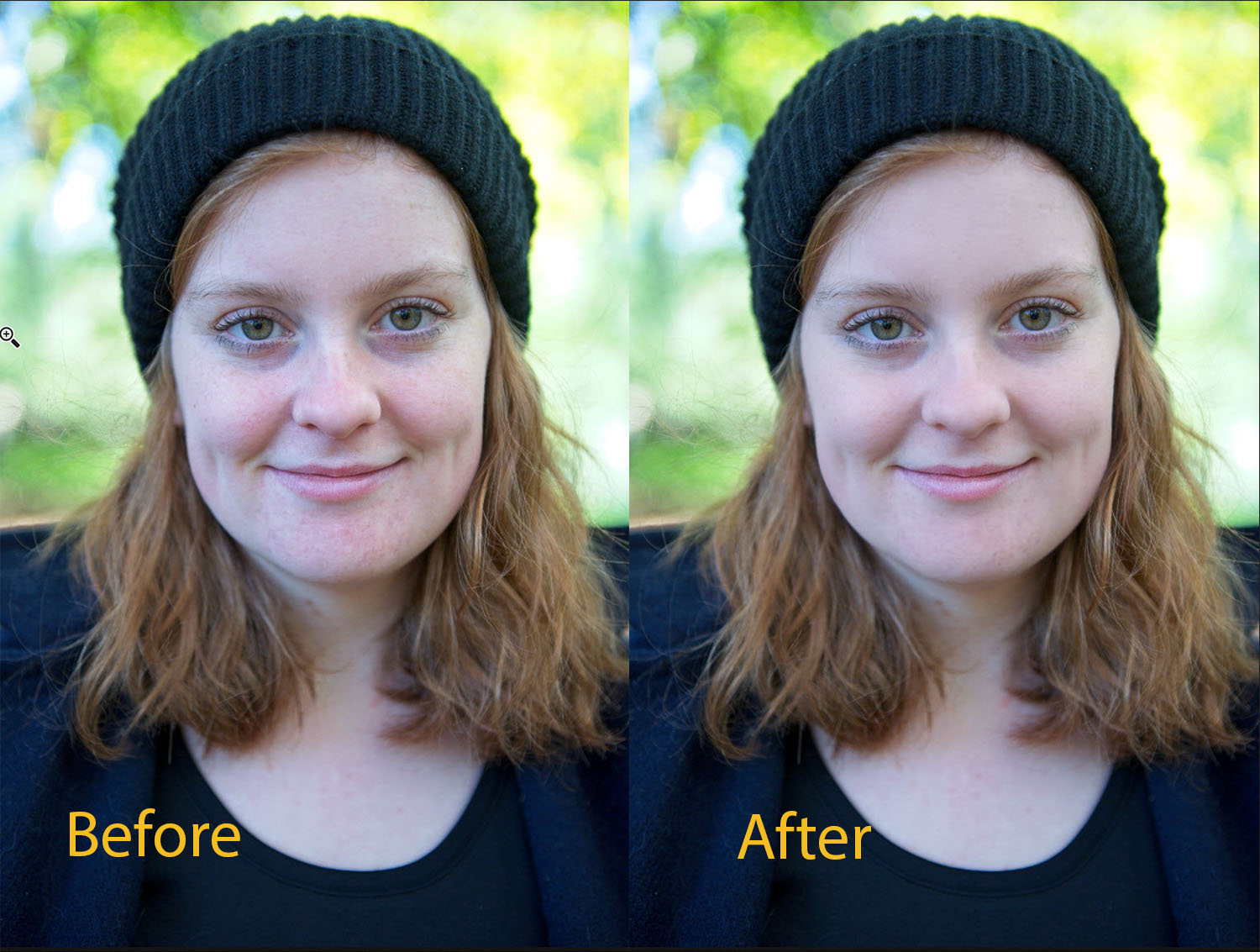 Tips for Portrait Processing with ON1 Photo RAW 2018 - skin retouching before and after