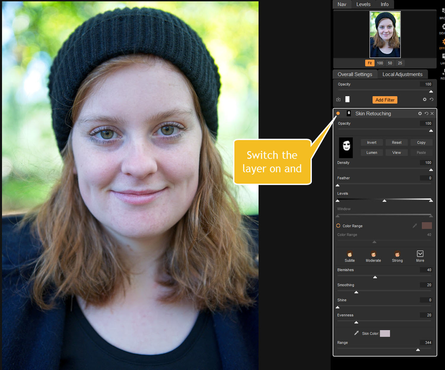 Tips for Portrait Processing with ON1 Photo RAW 2018 - toggle layer