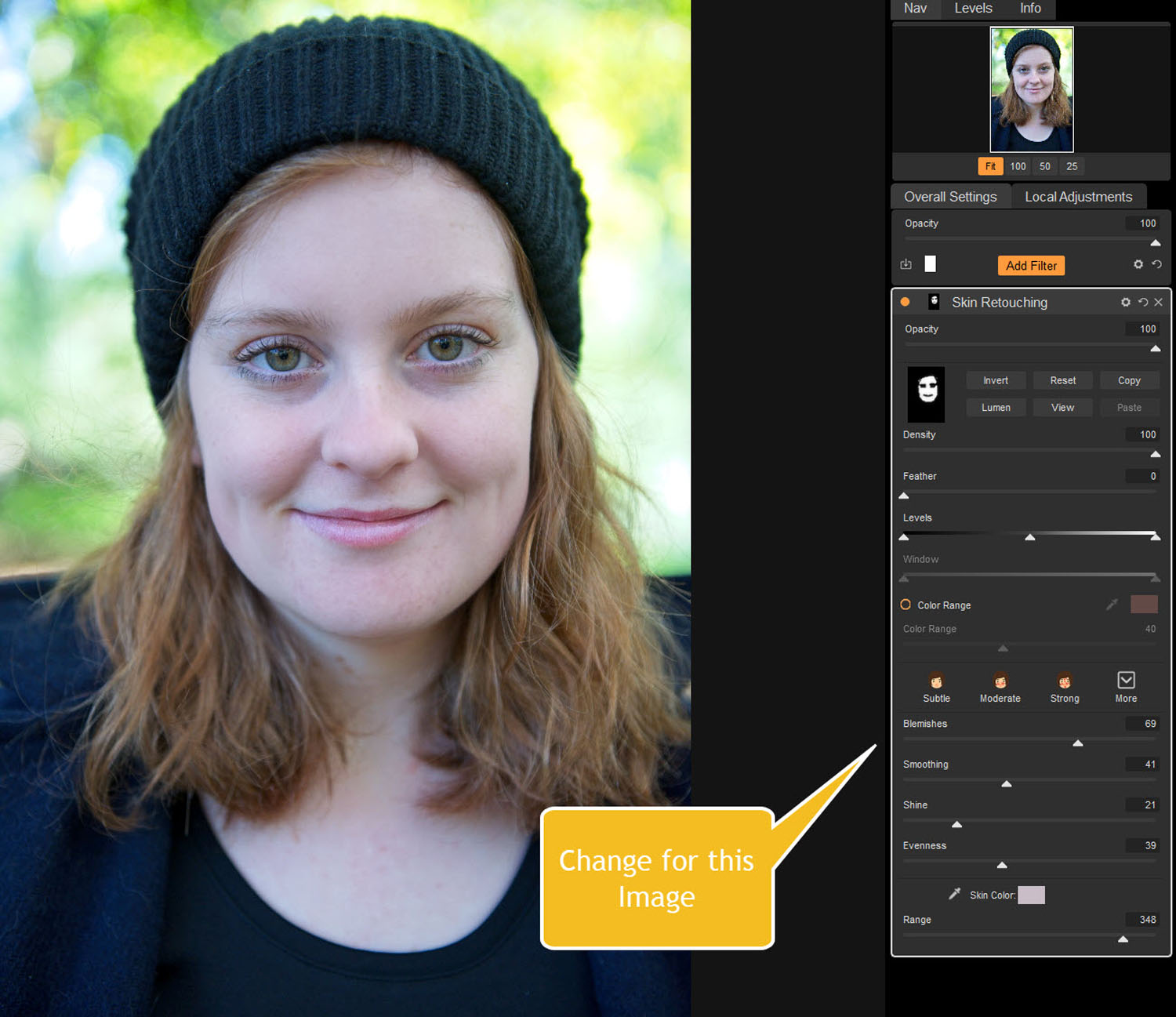 Tips for Portrait Processing with ON1 Photo RAW 2018 - sliders adjusted