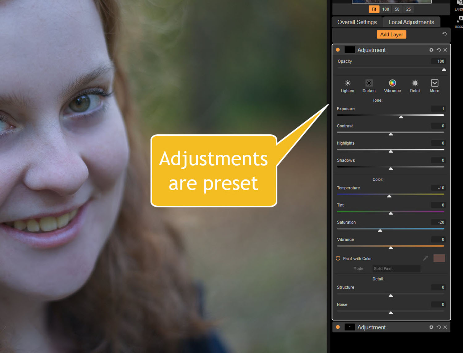 Tips for Portrait Processing with ON1 Photo RAW 2018 - preset adjusments