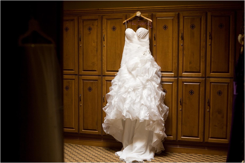 wedding dress hanging up - wedding day photography