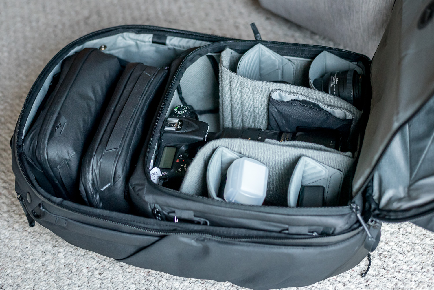 Travel Backpack filled with camera gear.