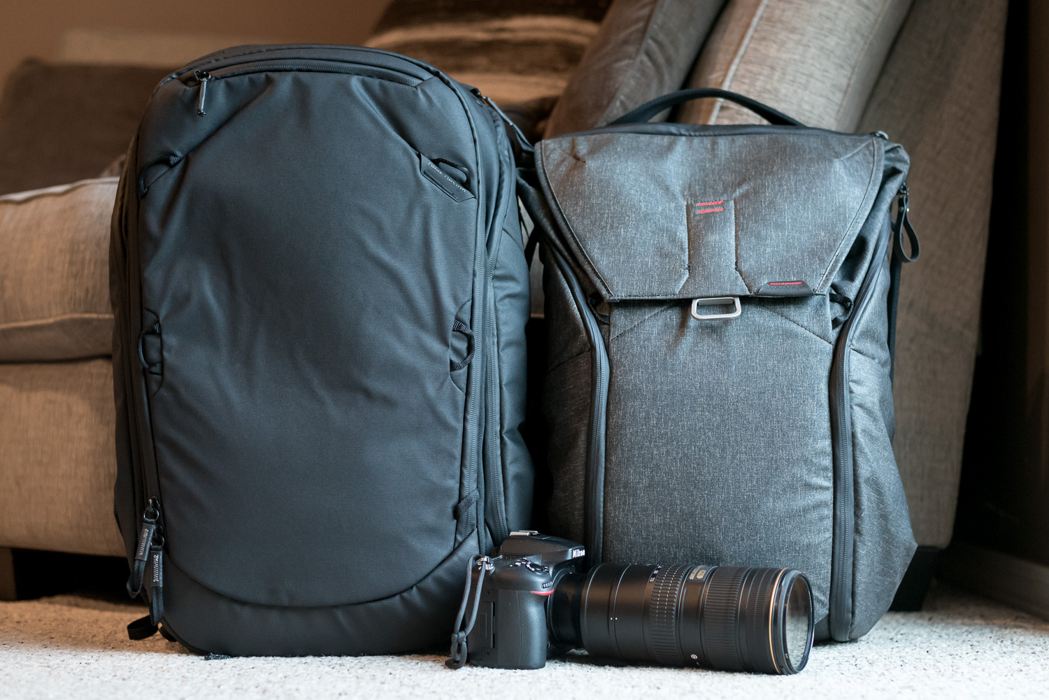 Image: The 45L Travel Backpack compared to my 35L Everyday Backpack, with a DSLR and 70-200 lens for...