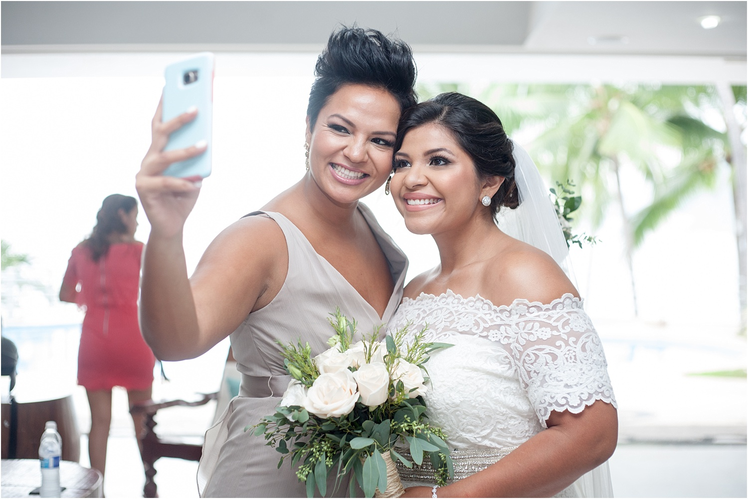 bride's maid and bride selfie - wedding day photography