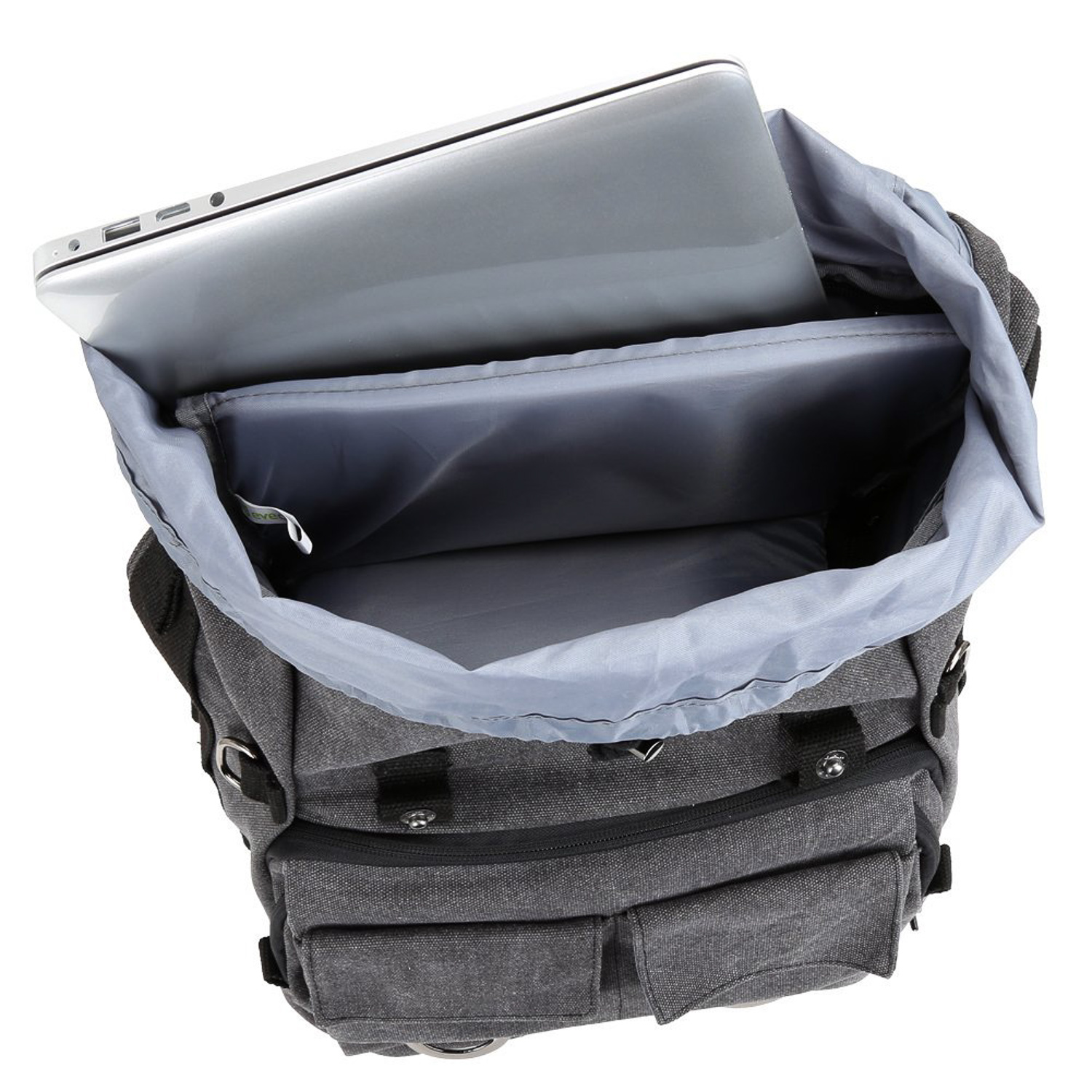 a1e2a40a47 The front of the backpack features a multitude of pockets and flaps