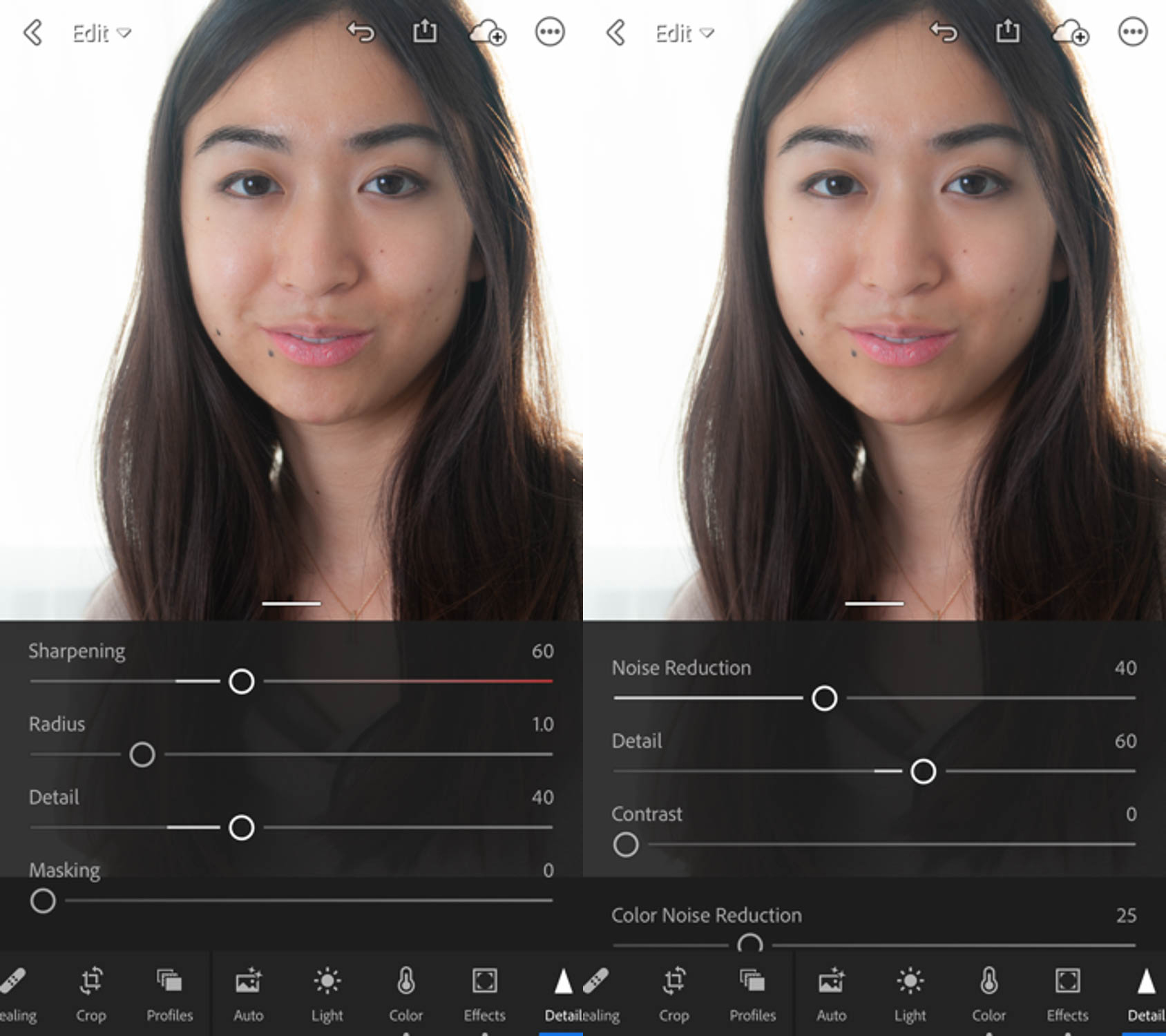 Image: The Noise Reduction tab helps get rid of noise and smooth out the rough skin under highlights...