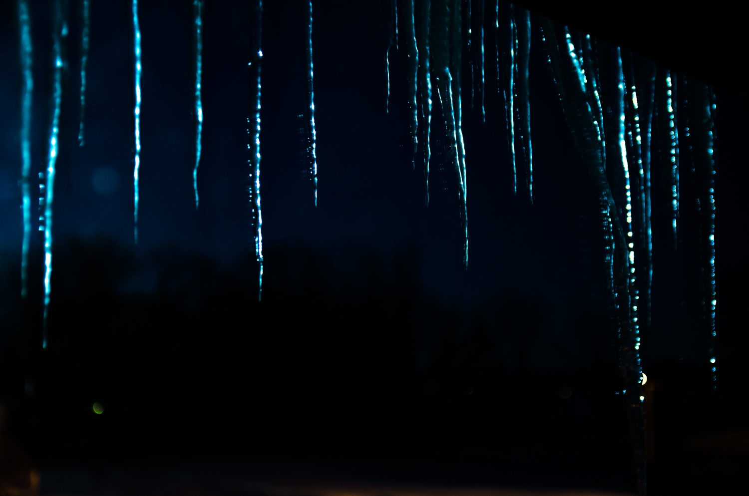 Image: These icicles are being lit by the cool light of the full moon.