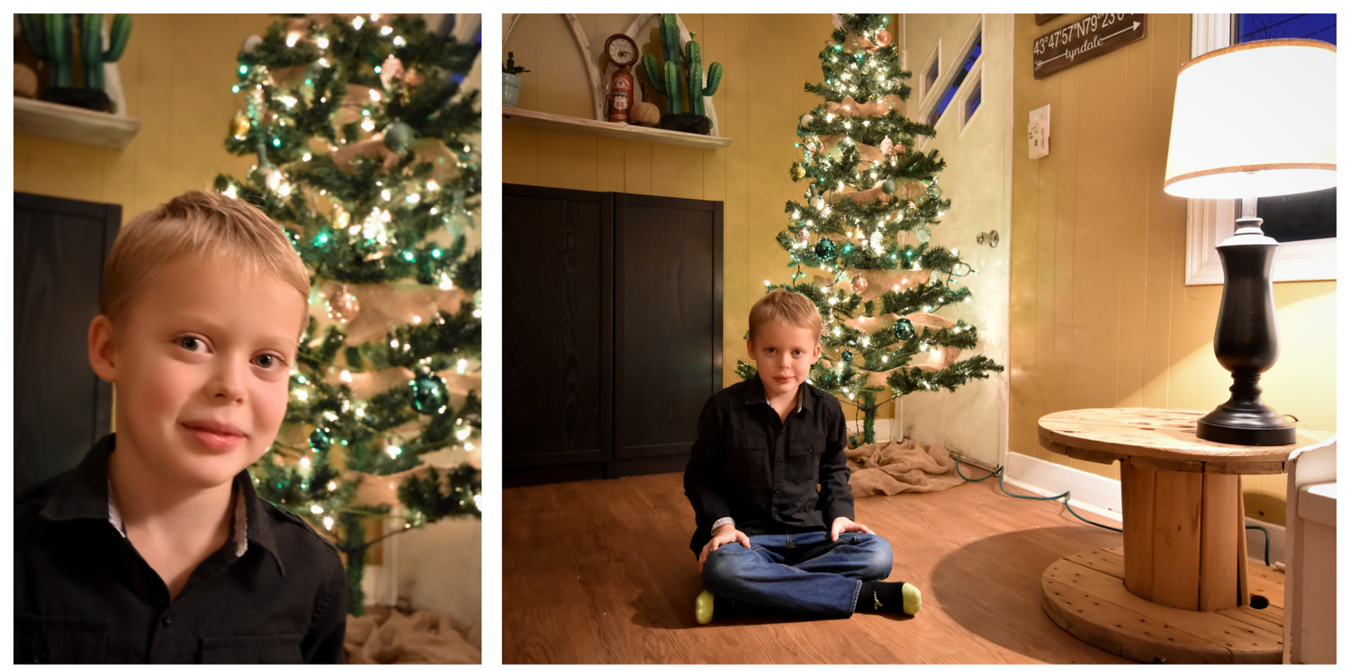 Image: This portrait was taken using only the tree lights and a small lamp. Because of the way they...