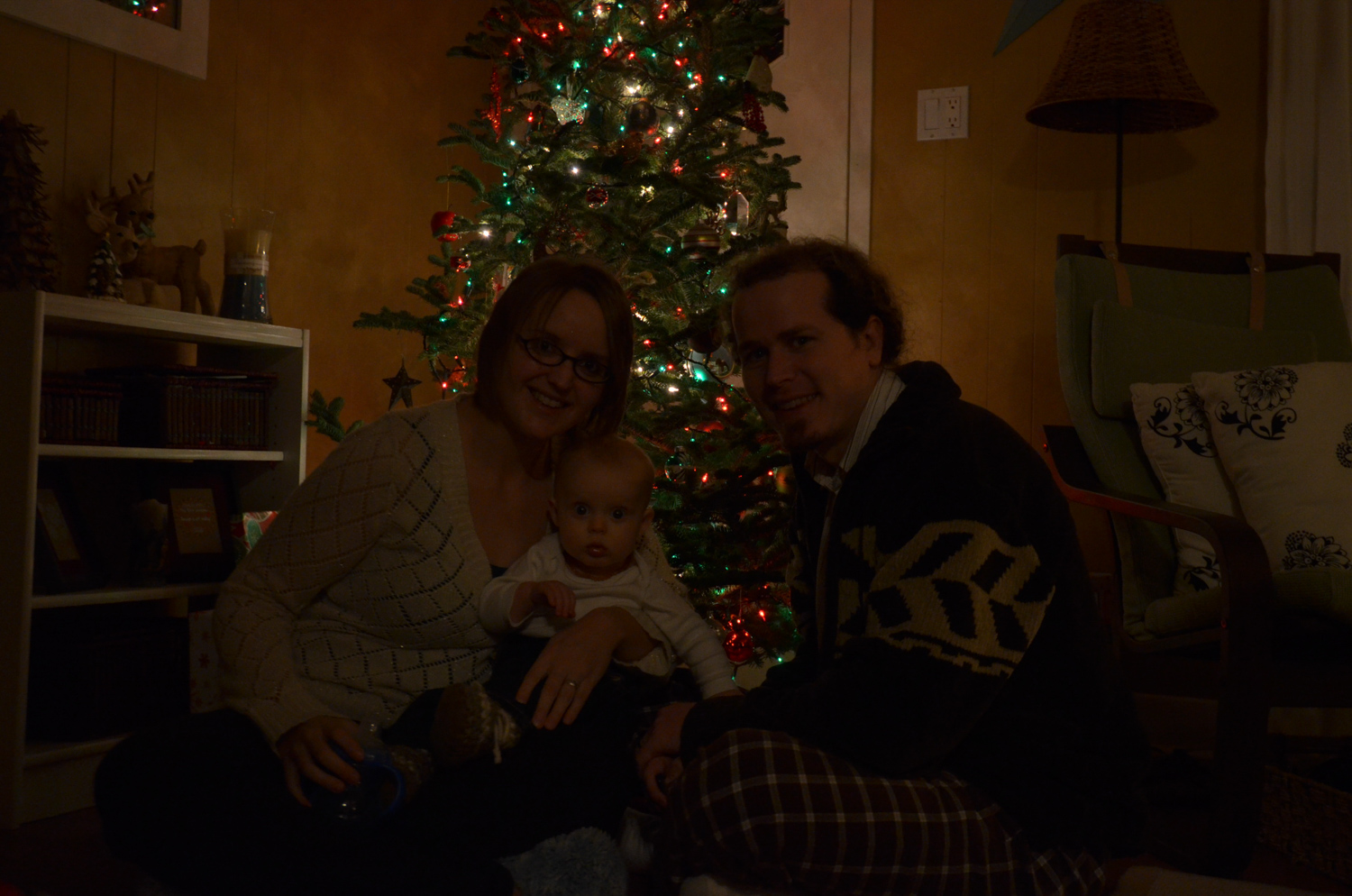 Image: This was our first ever family photo around the Christmas tree. Like most families, I propped...
