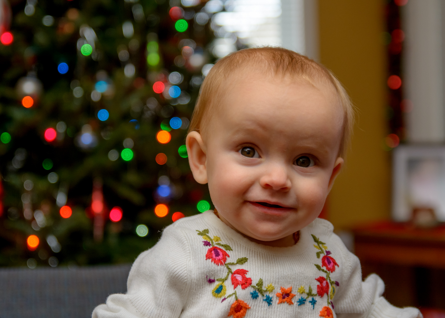 Image: Notice how her eyes are a little dark in this photo? The light is being bounced off the ceili...