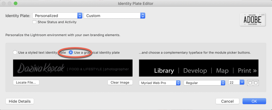 Identity Plate Editor in Lightroom-Darina Kopcok-DPS