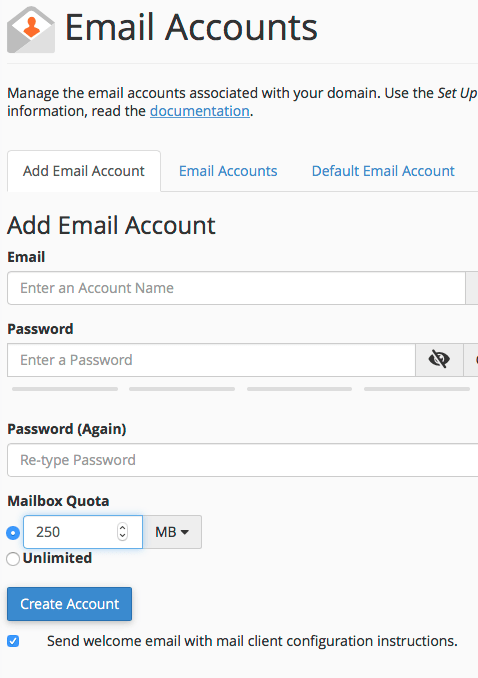 A screenshot of email settings in Cpanel