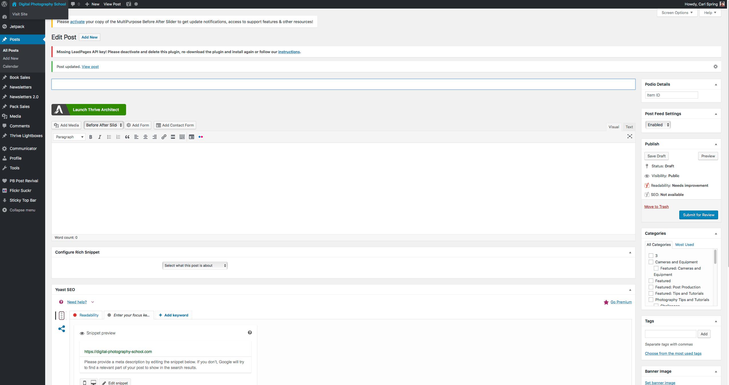 Screenshot of the WordPress system