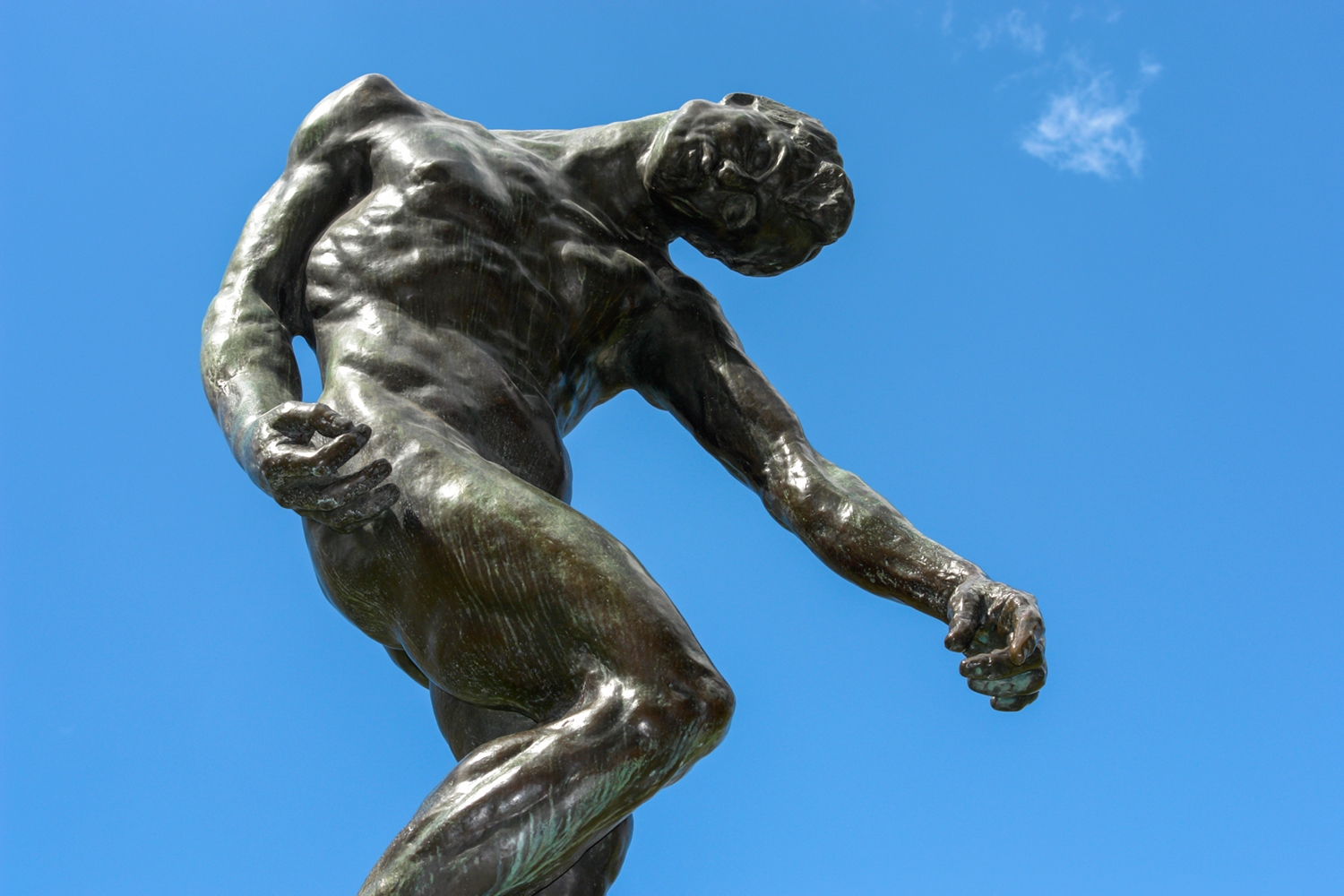 Low angle photography - statue looking downwards