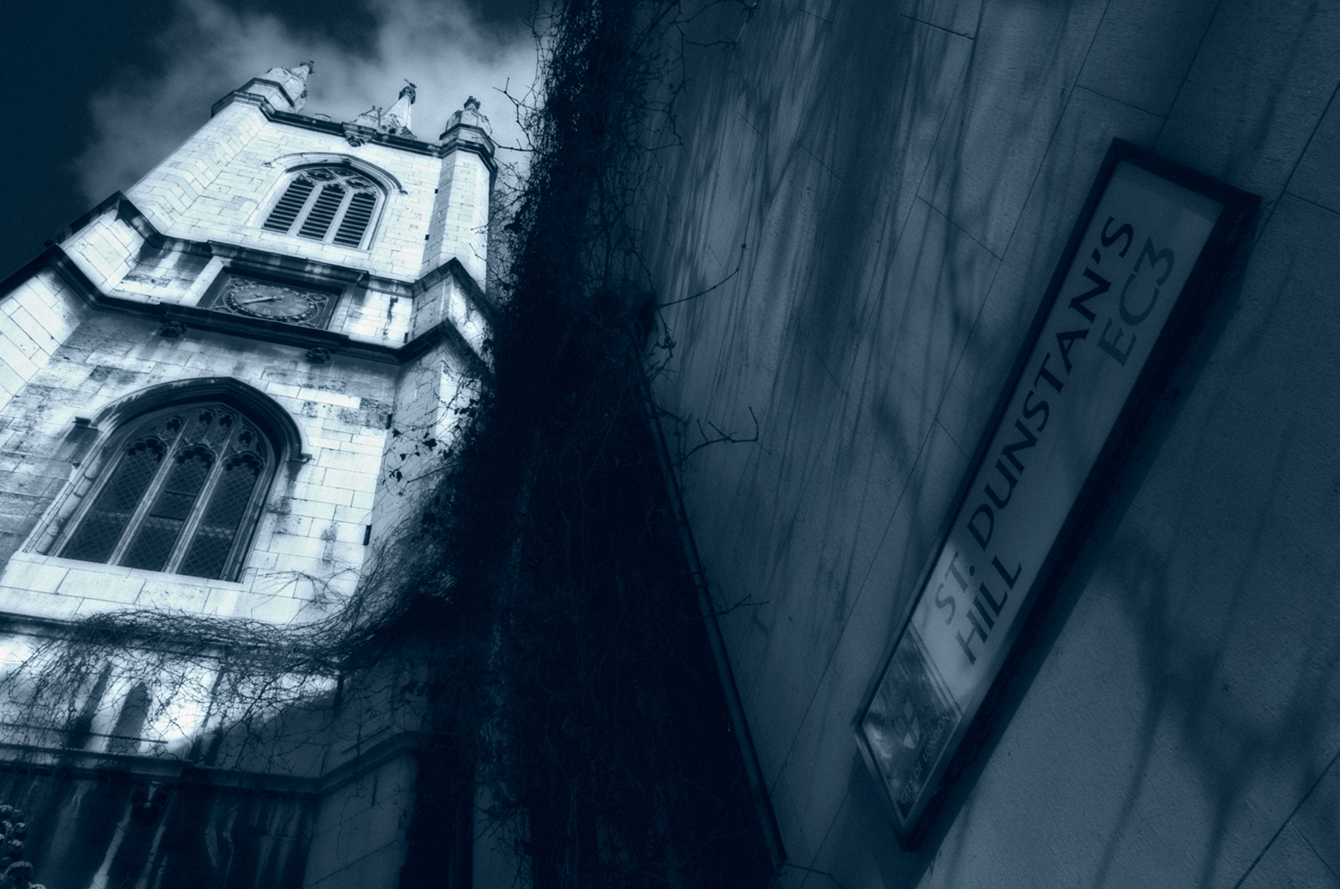 Low angle photography - St Dunstan's Hill in London