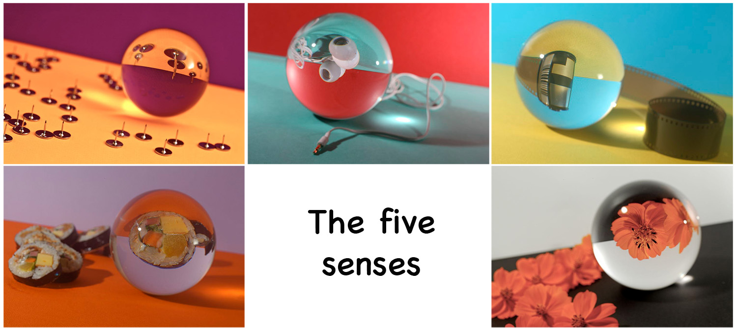 Image: This set of images uses the same technique to display the 5 senses.