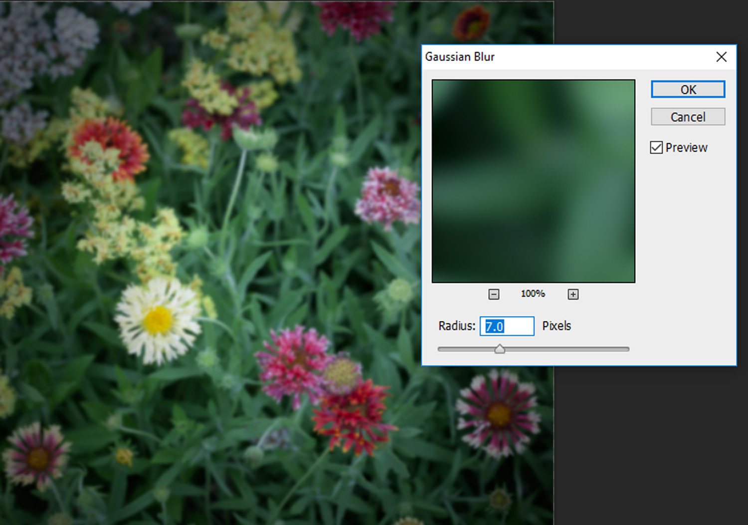 Image: In the Gaussian Blur window set the Radius from 5 to 10 pixels depending on your image and cl...