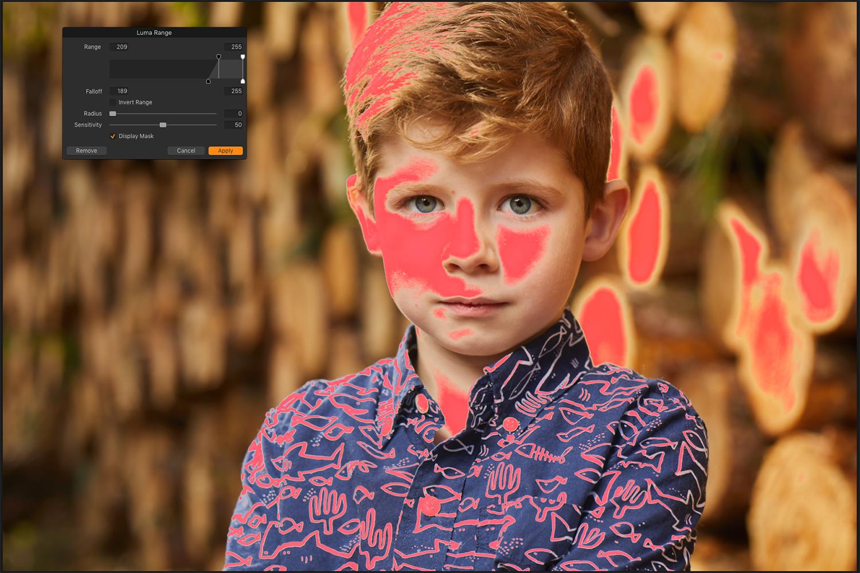 Screenshot of luminosity mask in Capture One