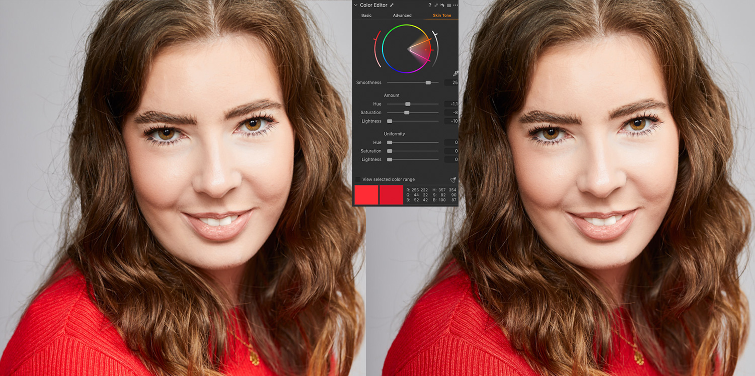 Capture One screen shots showing before and after the colour editor