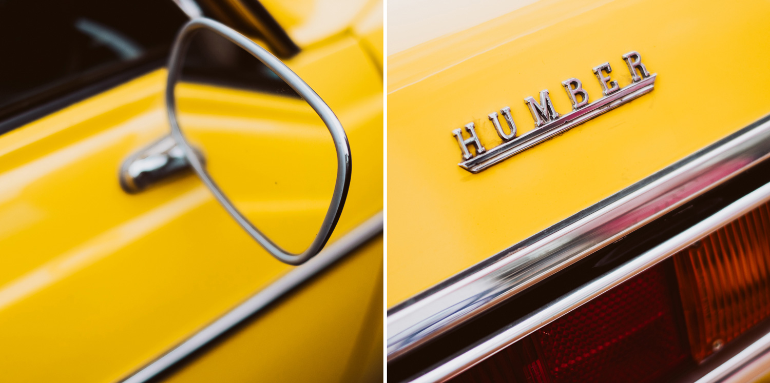 Two images of bright yellow classic cars. One image is of a chrome-trimmd wing mirror, the other is a Humber logo. 4 - Can New Gear Kickstart Your Photography - Charlie Moss