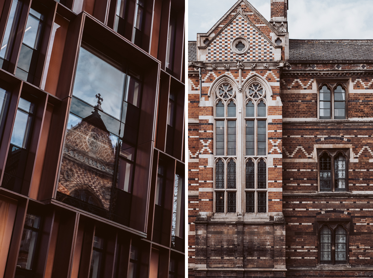 Image: Keble College Chapel reflected in the Beecroft Building, Oxford, and Keble College, Oxford ©...