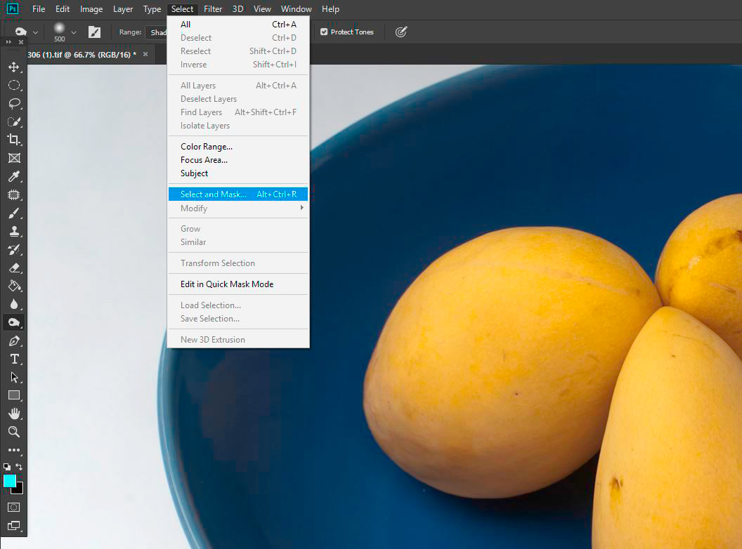 Seven Steps for Post Processing a Pure White Background Select and Mask Menu