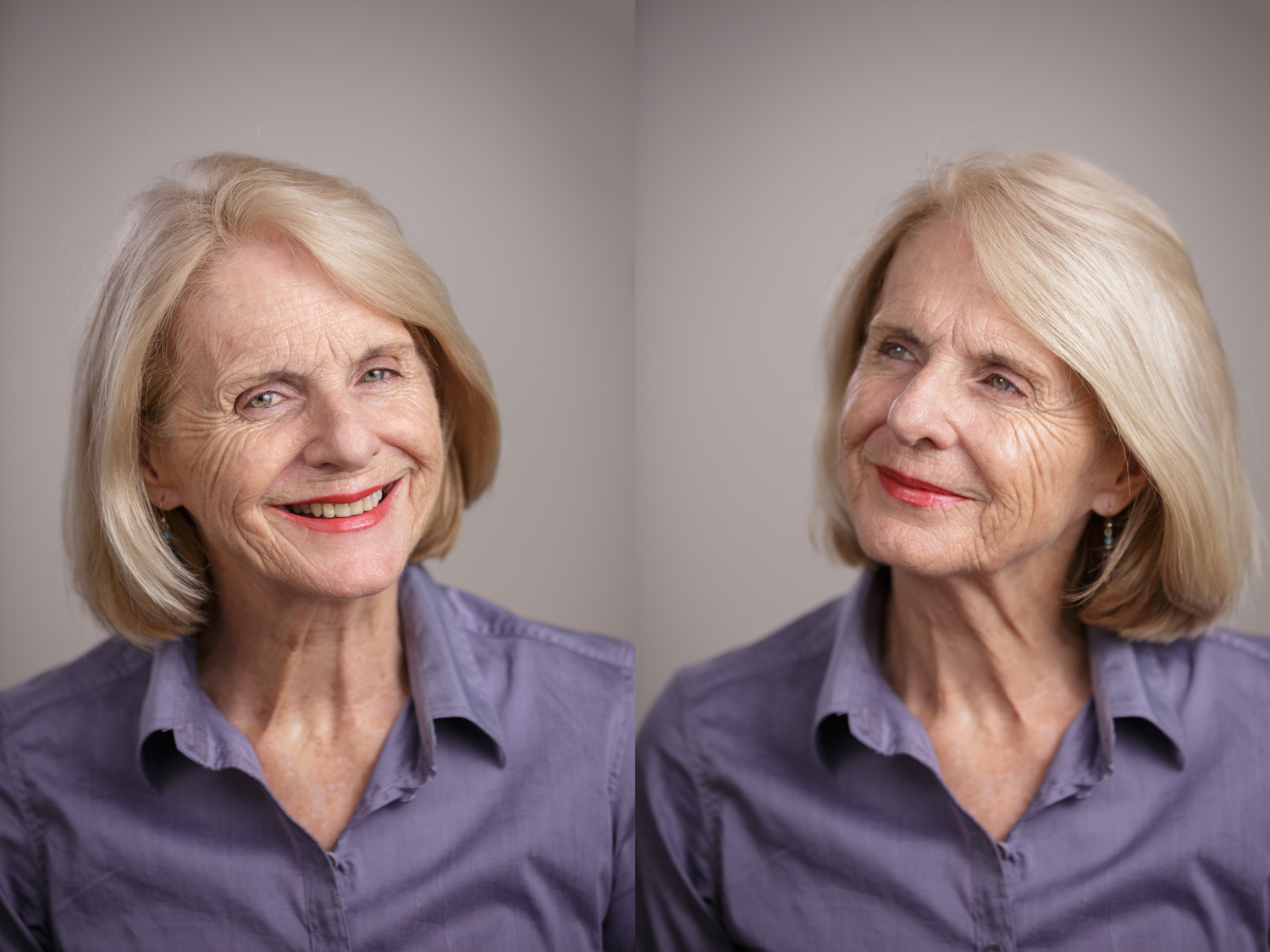 Image: Short lighting (left) generally provides a more flattering photo for an elderly subject than...