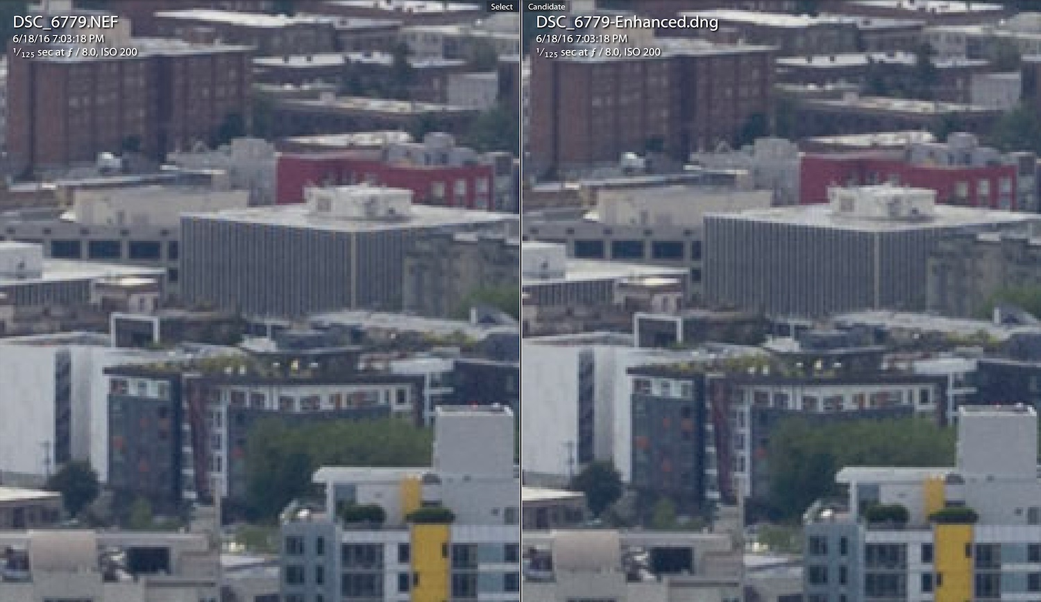 Image: Original image on the left. Enhanced on the right. If you look at the roofline of the buildin...