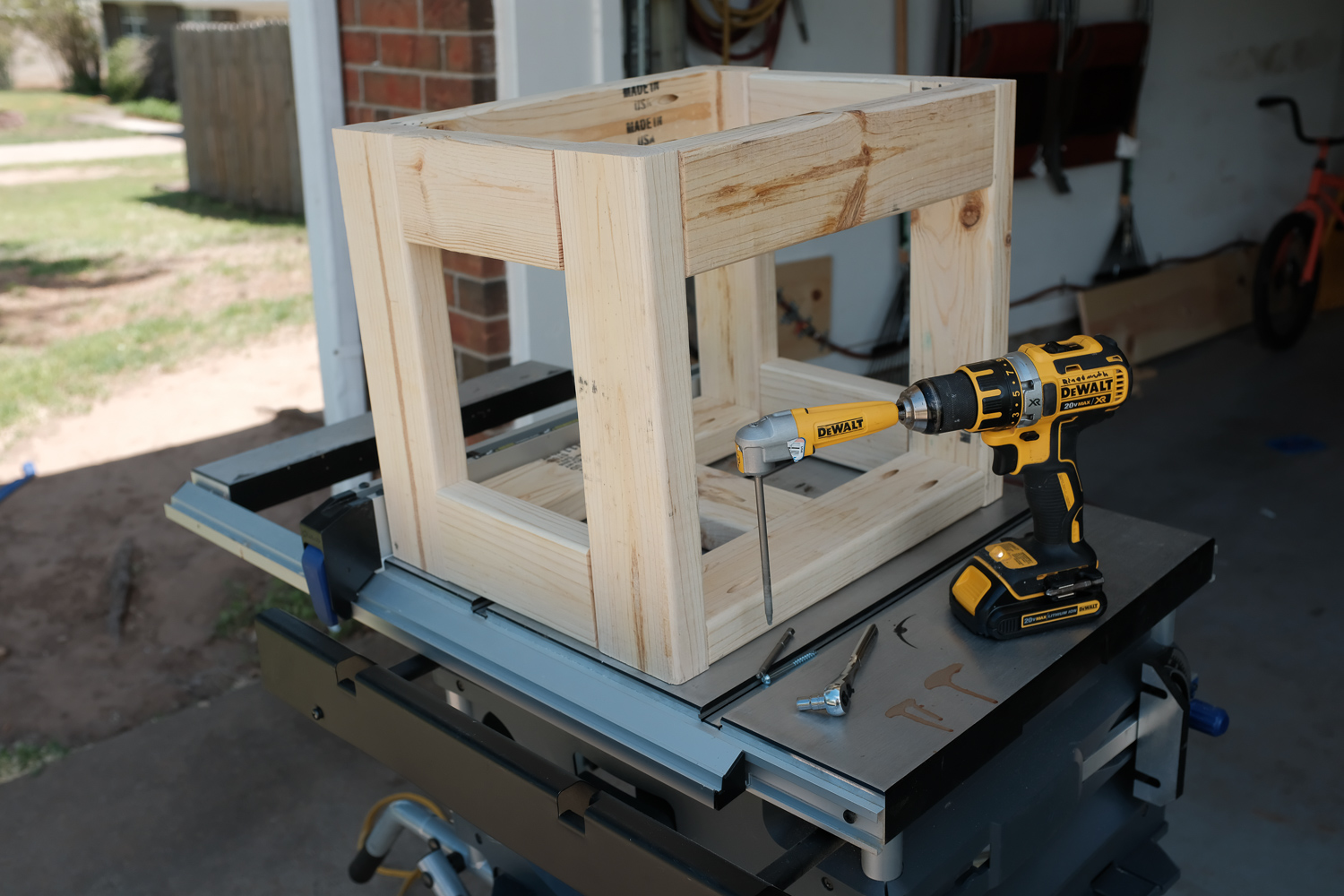 Image: The finished frame, upside down on my table saw which doubles as a small workbench.